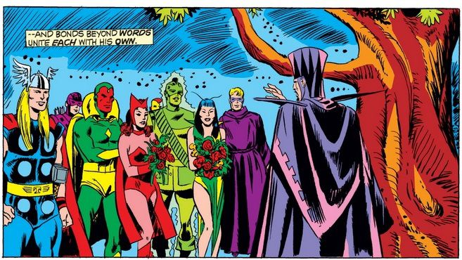 """From Giant-Size Avengers #4. Vision & Scarlet Witch and Mantis & """"Swordsman"""" are married in the presence of the other Avengers."""