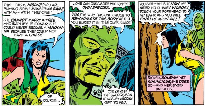 Three panels from Giant-Size Avengers #4. A glowing, ghostly Swordsman explains to Mantis that he is inhabited by the spirit of a nearby tree. She examines the tree to verify his story.