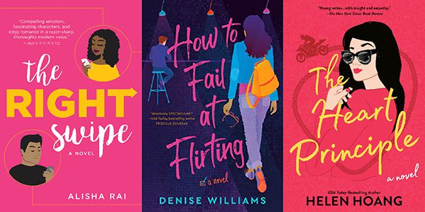 Illustrated romance covers: The Right Swipe, How to Fail at Flirting, and The Heart Principle