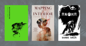 collage of three Indigenous horror novels with forest at night as background