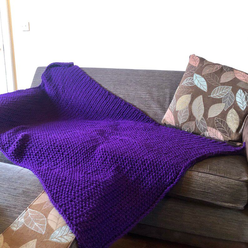 Chunky knitted vegan throw blanket