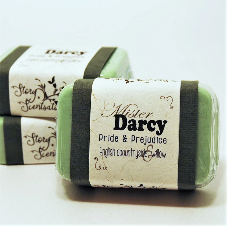 Photo of a green bar of soap with a label saying mister Darcy