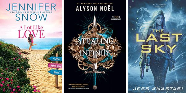 three Illustrated Covers from Entangled Publishing: A Lot Like Love; Stealing Infinity; and The Last Sky