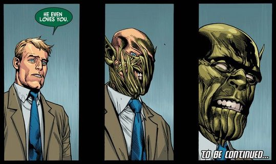 Three panels from Secret Invasion #1. A man appearing to be Hank Pym slowly transforms into his true self: a Skrull.
