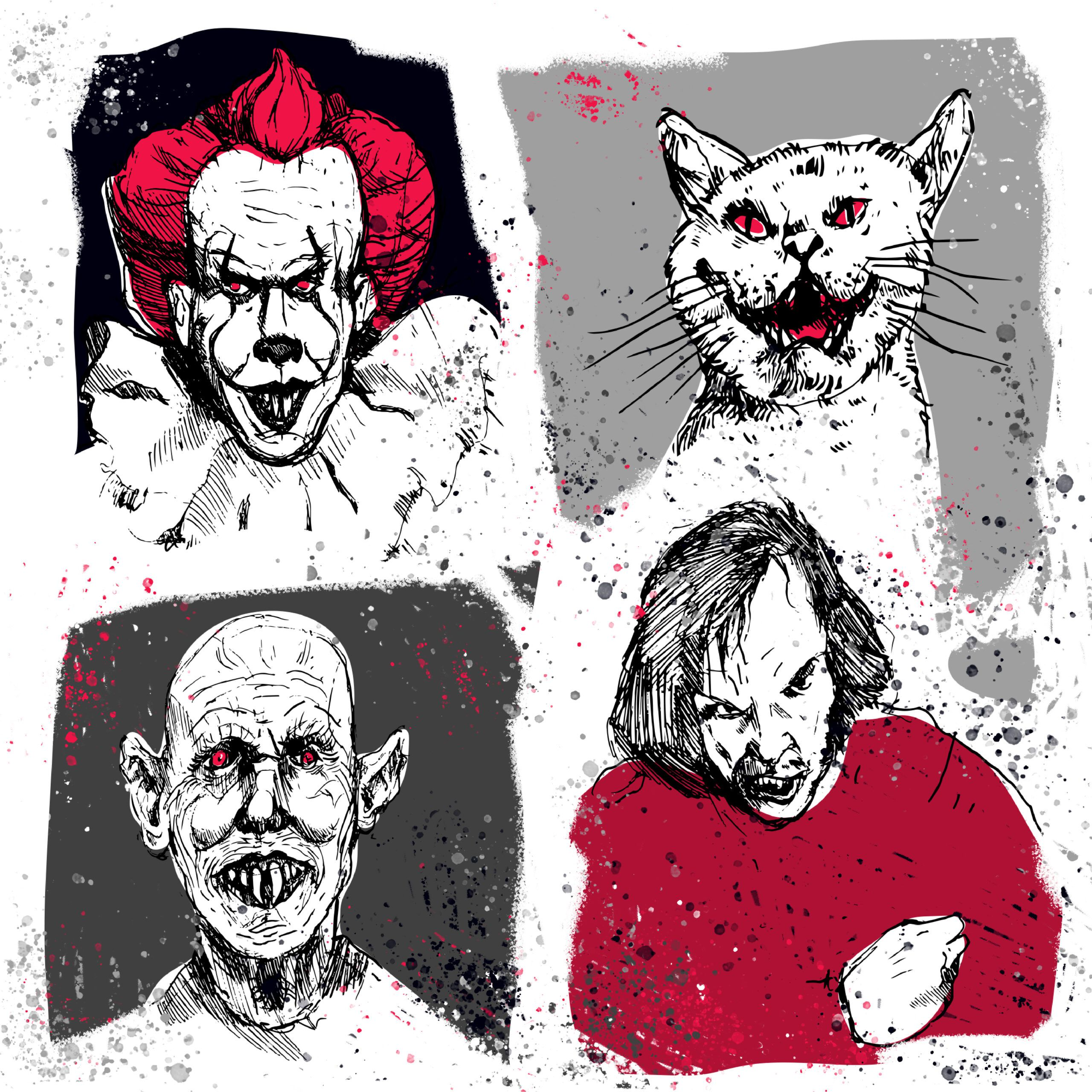 Creepy artwork of 4 Stephen King characters, including Pennywise