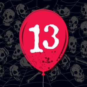 Red balloon with 13 on it against a black background with skulls and a spider web