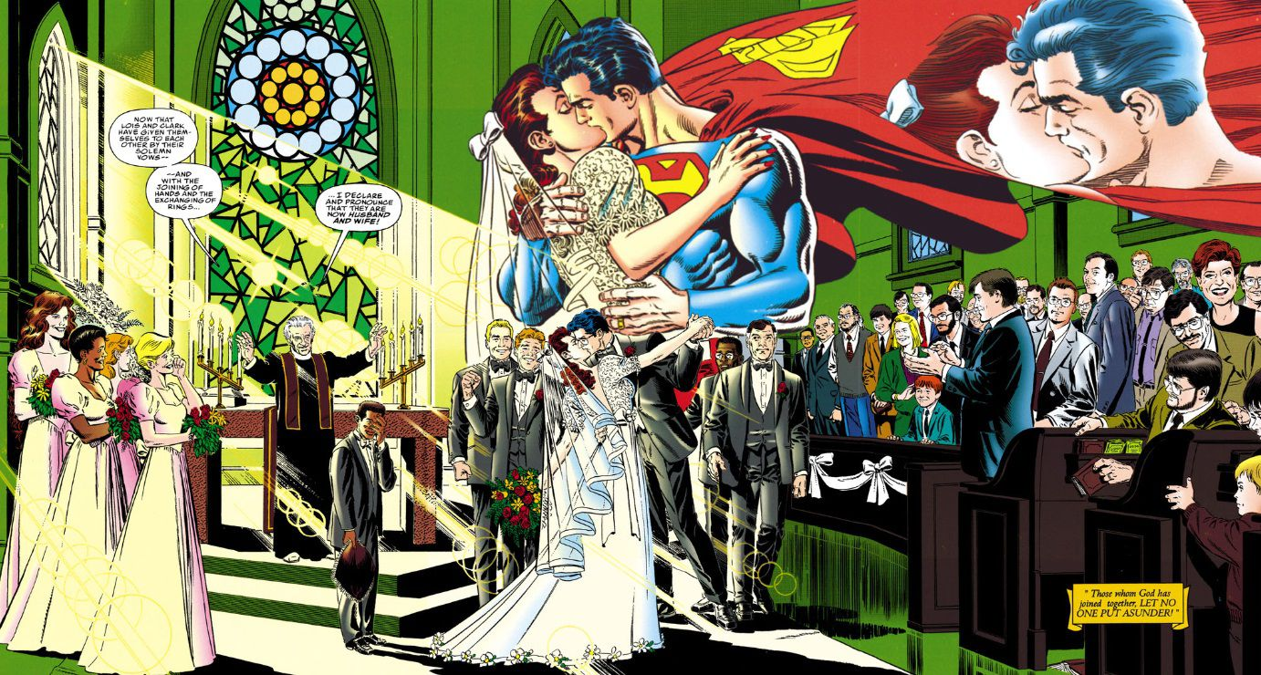 From Superman: The Wedding Album. Two-page spread of Clark and Lois's wedding. They kiss in a sunlit church filled with family and friends.