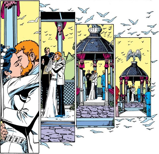 From Tales of the Teen Titans #50. Donna Troy and Terry Long kiss at the altar as doves fly all around them.