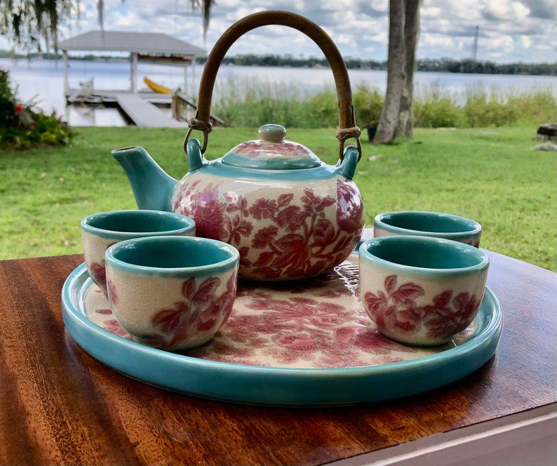 Vintage Complete Pier One Tea Set With Tray