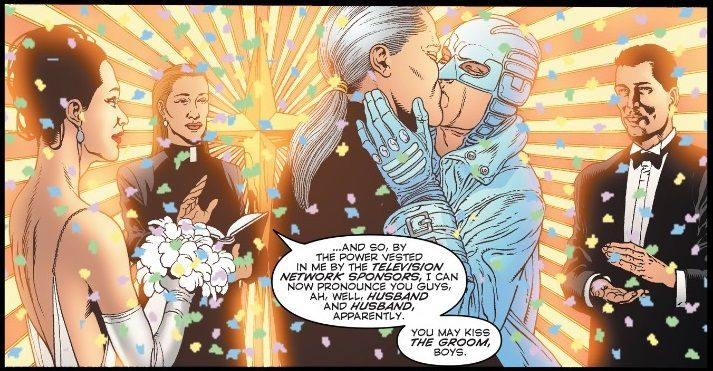 From The Authority #29. Apollo and Midnighter kiss amid a bright background as confetti falls all around them and their friends.