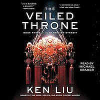 A graphic of the cover of The Veiled Throne by Ken Liu