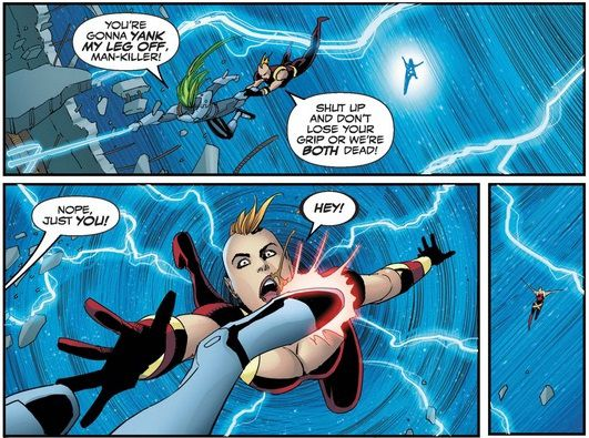 From Thunderbolts #12. Man-Killer clings to Whiplash's leg to avoid getting swept away in a maelstrom. He kicks her off, causing her to fly to her death.