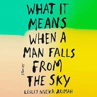 A graphic of the cover of What It Means When a Man Falls from the Sky by Lesley Nneka Arimah