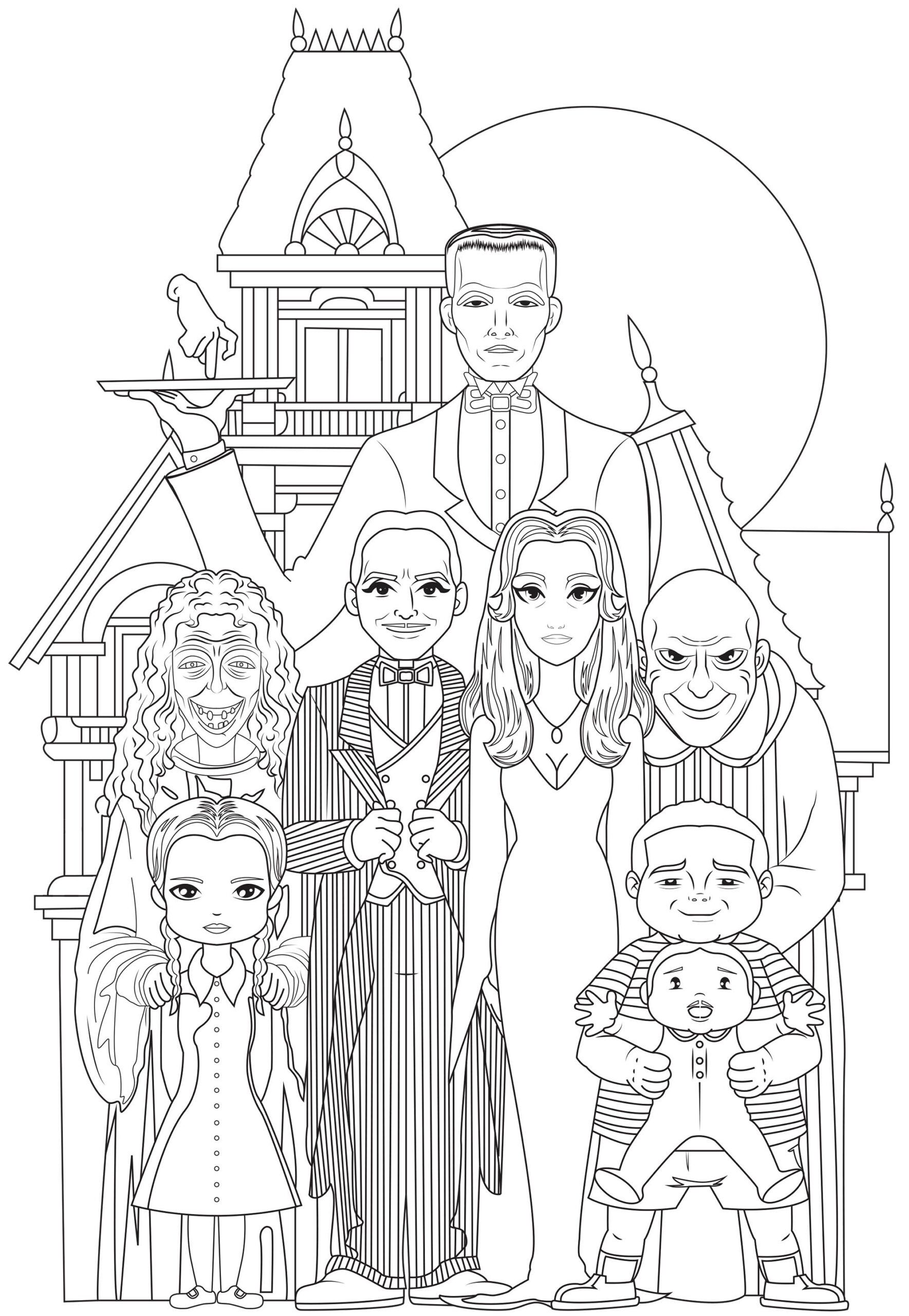adams family coloring page