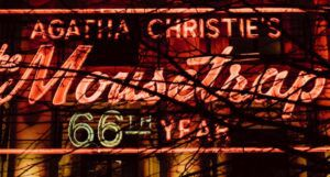 neon sign for West End production of Agatha Christie's The Mousetrap