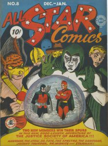 The cover to All Star Comics #8. Several members of the JSA (Hawkman, Doctor Fate, the Atom, the Sandman, the Spectre, and Johnny Thunder) look into a crystal ball containing Doctor Midnight and Starman.