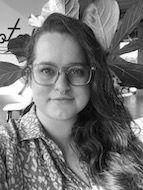 a black and white photo of Amanda Pecora