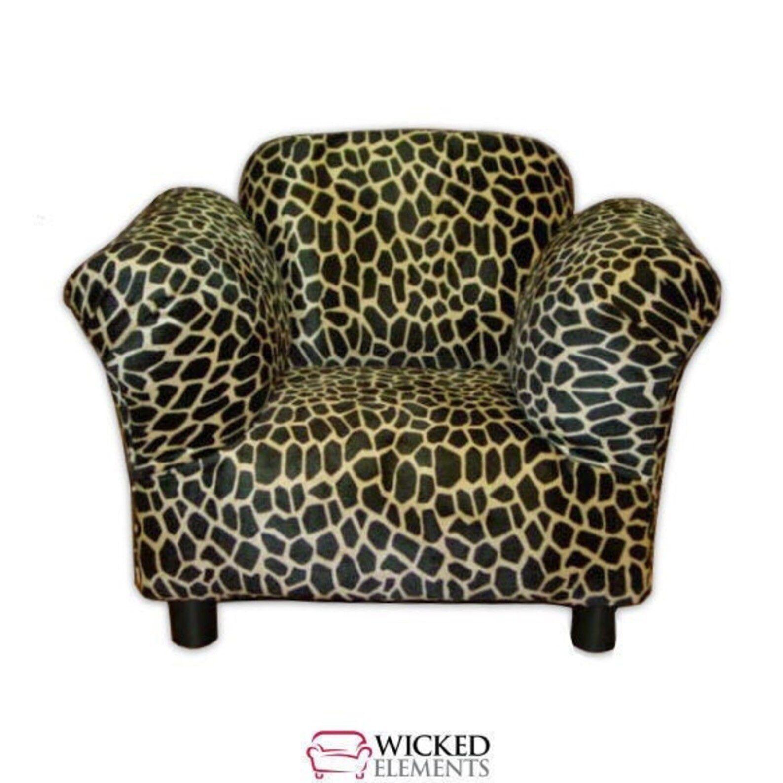 giraffe print kid-sized armchair