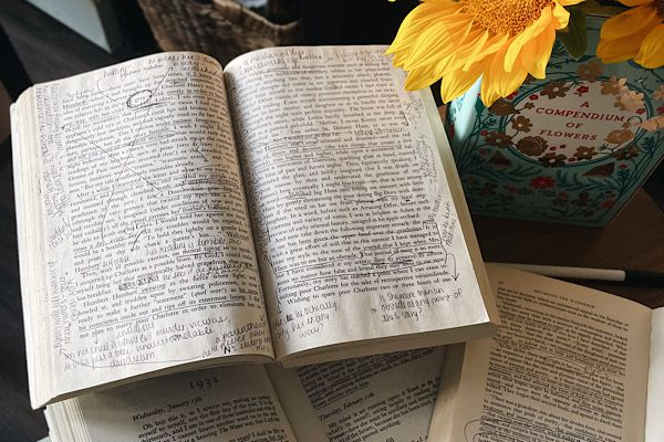 Open, annotated book lying open beside a vase of sunflowers. Photograph by the author of this piece, Leah von Essen.