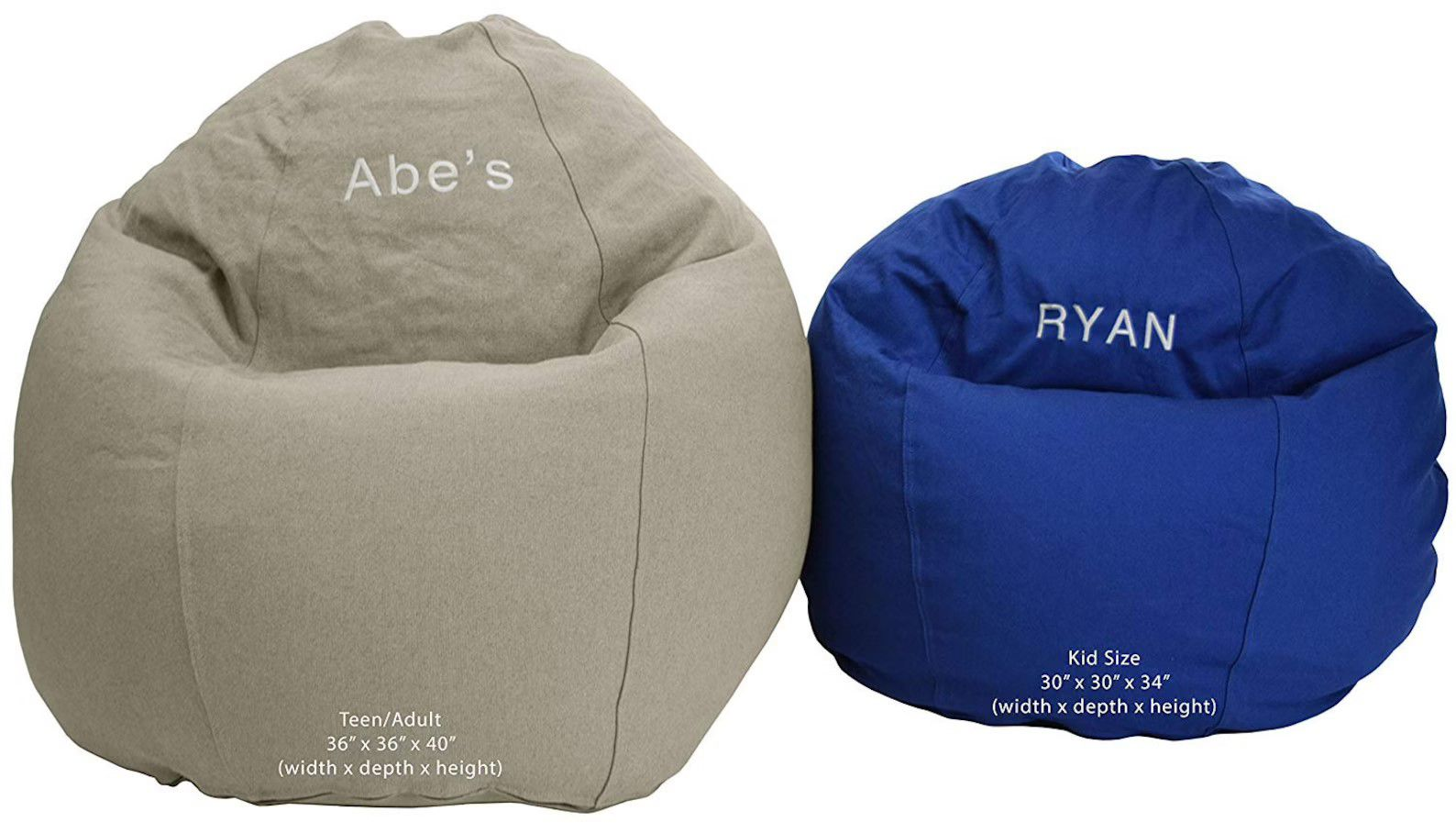 two sized of beanbags embroidered with names