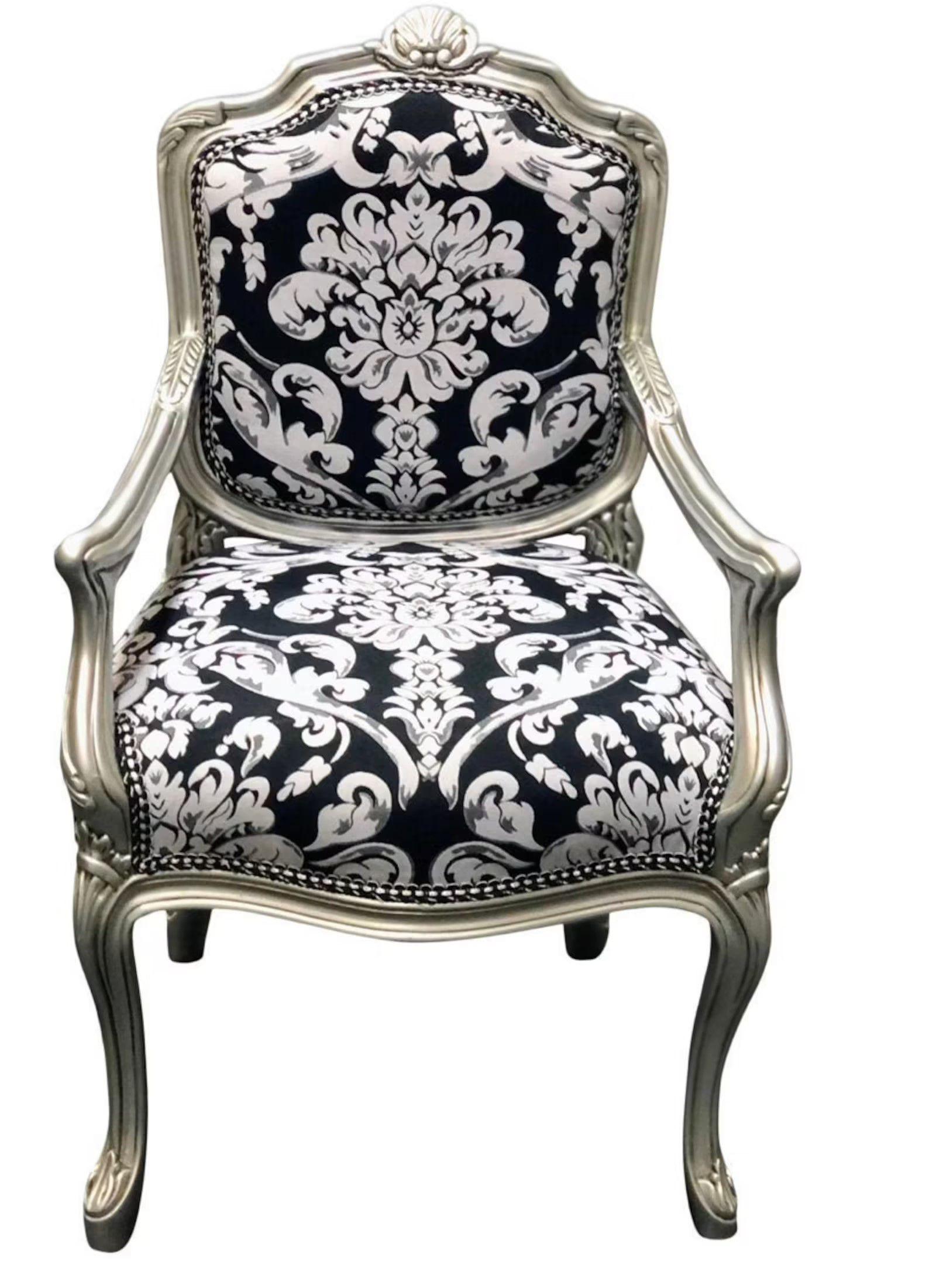 elegant black and white chair with metallic frame
