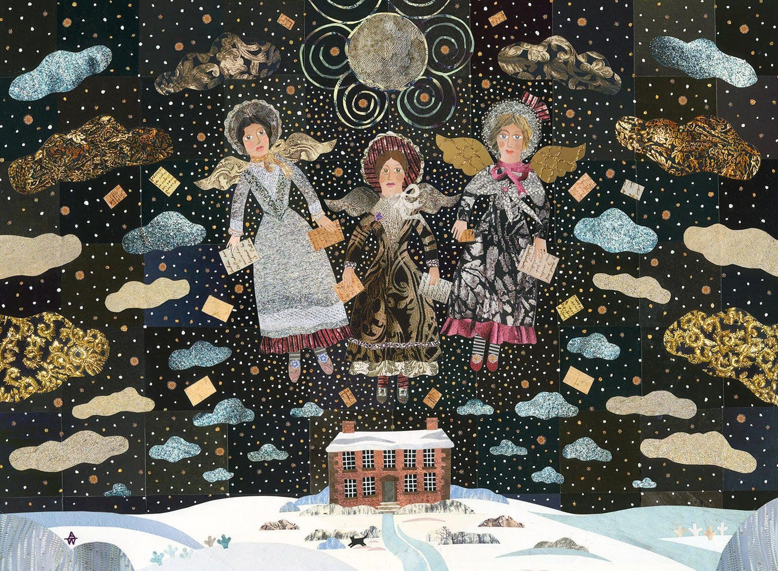 A dark starry sky depicting the Bronte sisters as angels and their works floating about their parsonage home at wintertime, done in beautiful blacks, browns, and blues collage style.