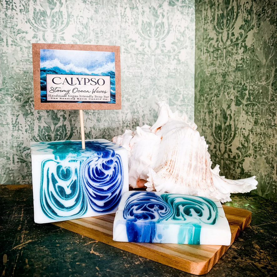image of a big bar of soap that is white green and blue, resembling the sea