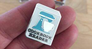 cookbook reader enamel pin