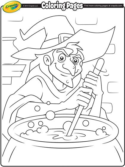 witch and her cauldron coloring page