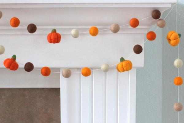 Felt Ball Pumpkin Garland