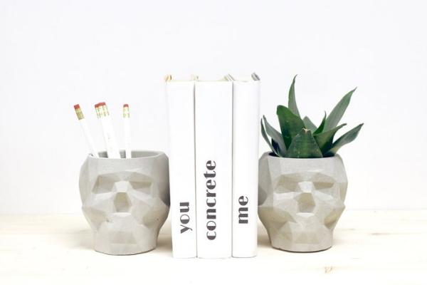 Geometric Skull Book End Planters