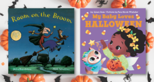 Covers of Room on the Broom and My Baby Loves Halloween against a pumpkin background
