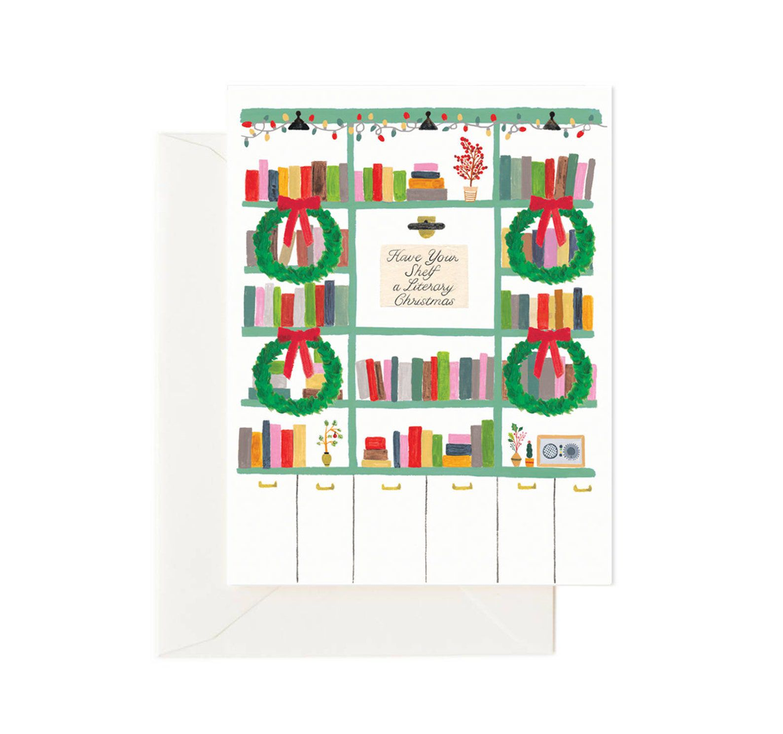 """A card with a painting of colorful book shelves decorated for Christmas and a message that reads """"Have your shelf a literary Christmas"""""""