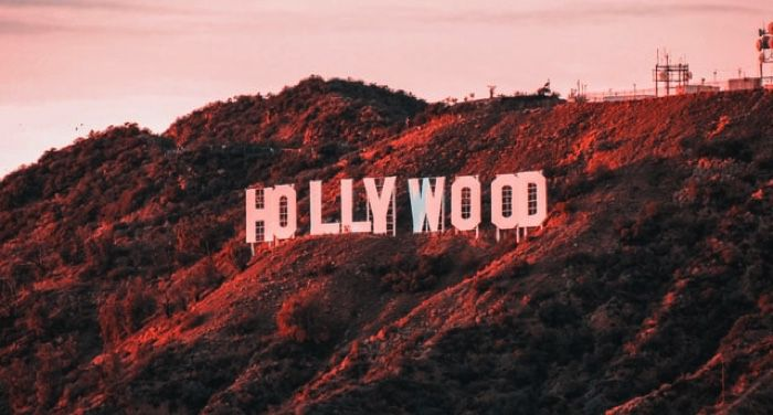 image of the Hollywood sign in distorted colors