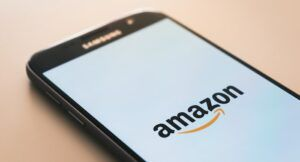 Image of cell phone with Amazon on the screen