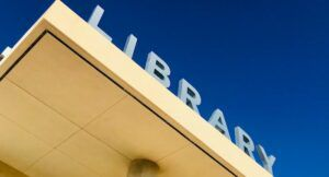 image of a sign reading library