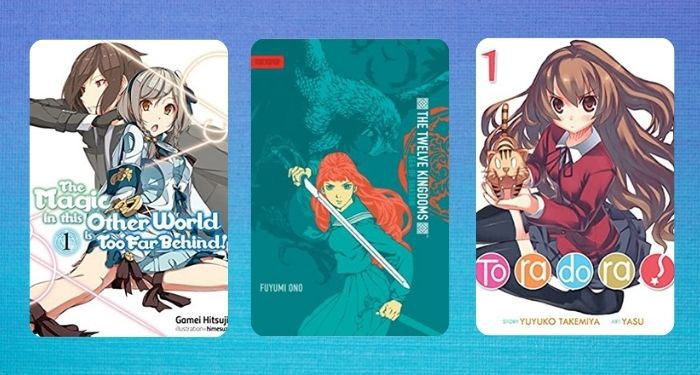 collage of three Japanese light novel covers