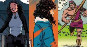 collage of three images of Jewish superheroes: Sabra, Whistle, and Seraph