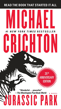 Jurassic Park by Michael Crichton book cover