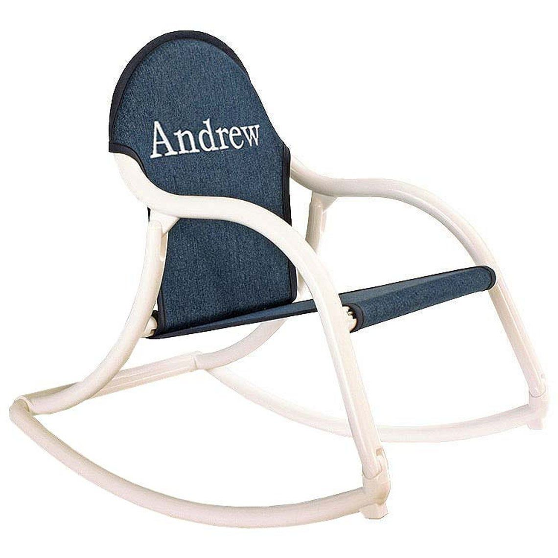kid-sized rocking chair with denim seat and white arms embroidered with the name Andrew