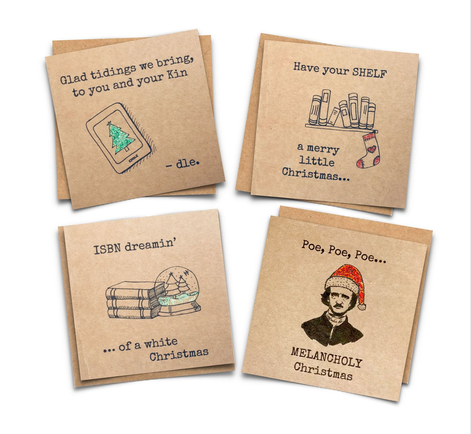 Four square craft paper cards with the following puns: Galt tidings we bring to you and your Kin-dle, Have Your Shelf a Merry Little Christmas, ISBN dreaming of a White Christmas, and Poe, Poe, Poe Melancholy Christmas.