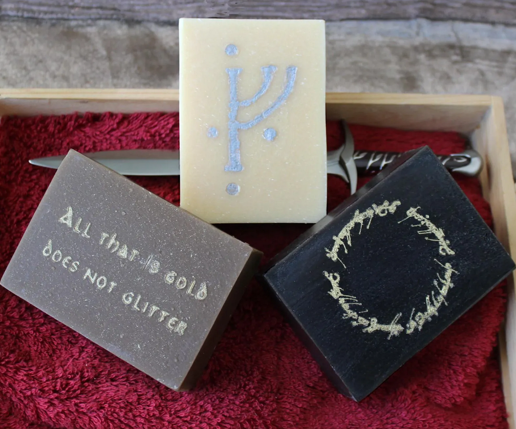 Three soaps with different symbols from lord of the rings