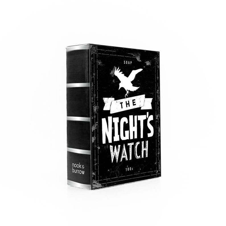 image of The Night's Watch soap which is black and white in the shape of a book