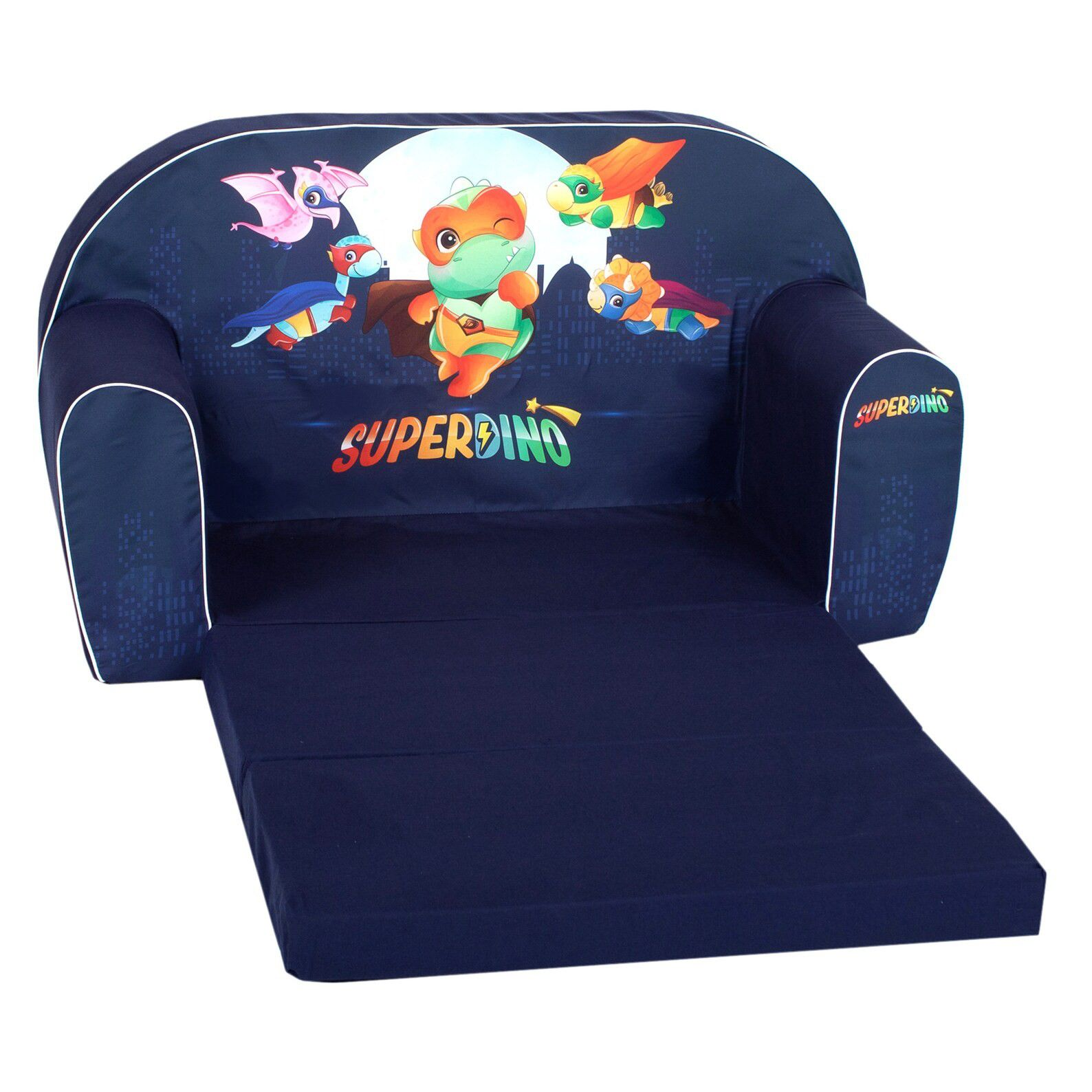 blue couch with fold out cushions and animated superhero dinosaurs on seat back