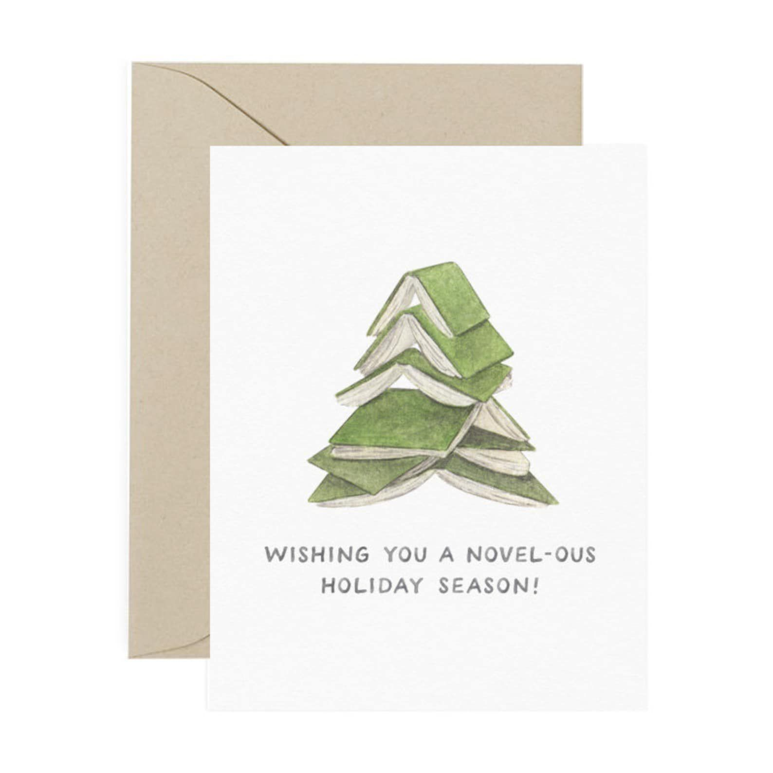 """A white card with a stack of green books in the shape of a Christmas tree reading """"Wishing you a Novel-ous holiday season"""""""