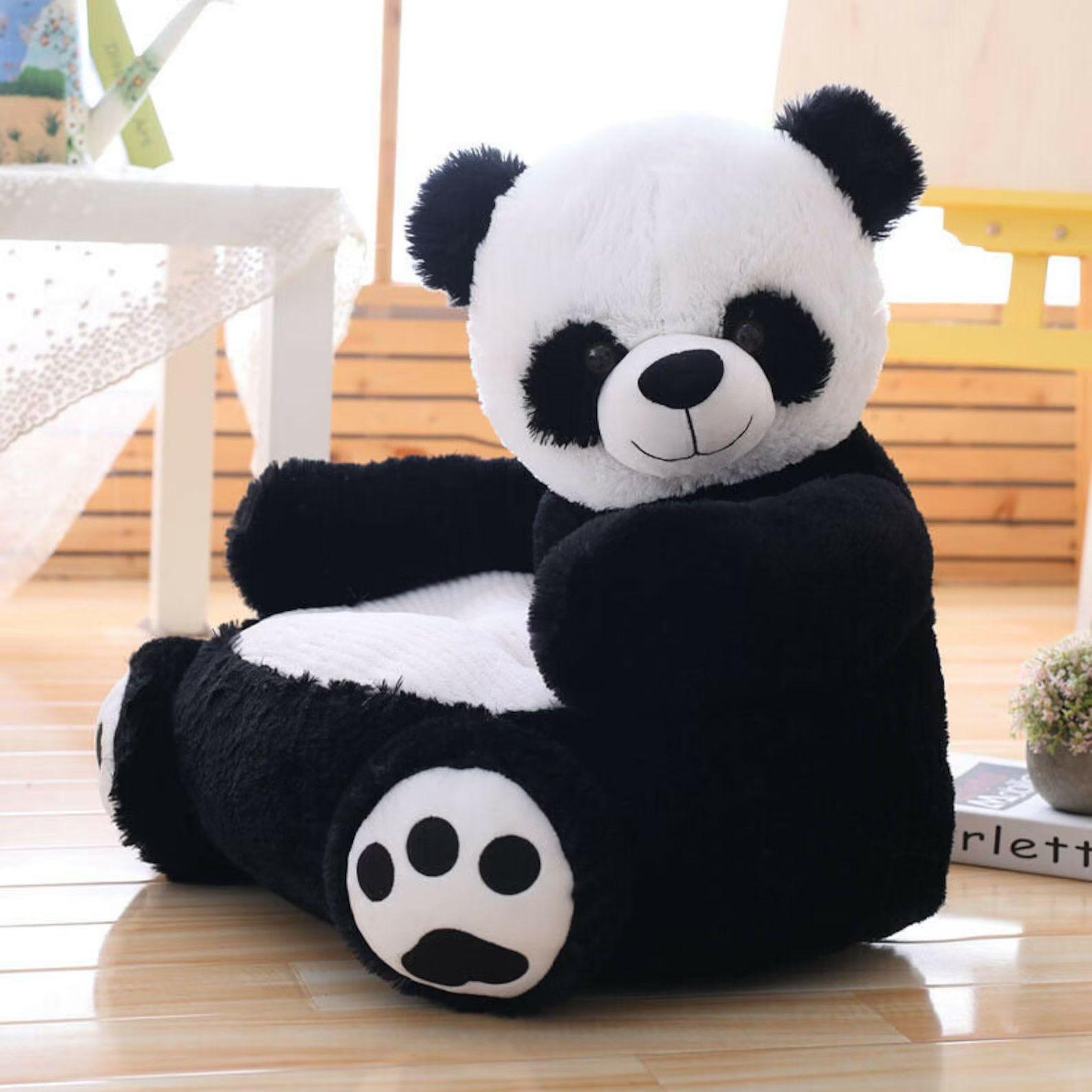 kids chair shaped like a stuffed panda