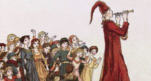 an illustration of Illustration from The Pied Piper of Hamelin and a group of children following