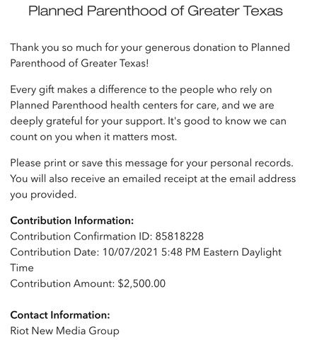 receipt of $2500 donation from Book Riot to Planned Parenthood of Greater Texas