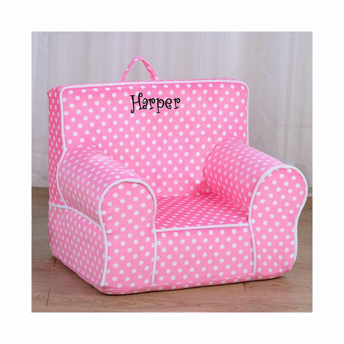 pink polka dot chair monogram of the name Harper
