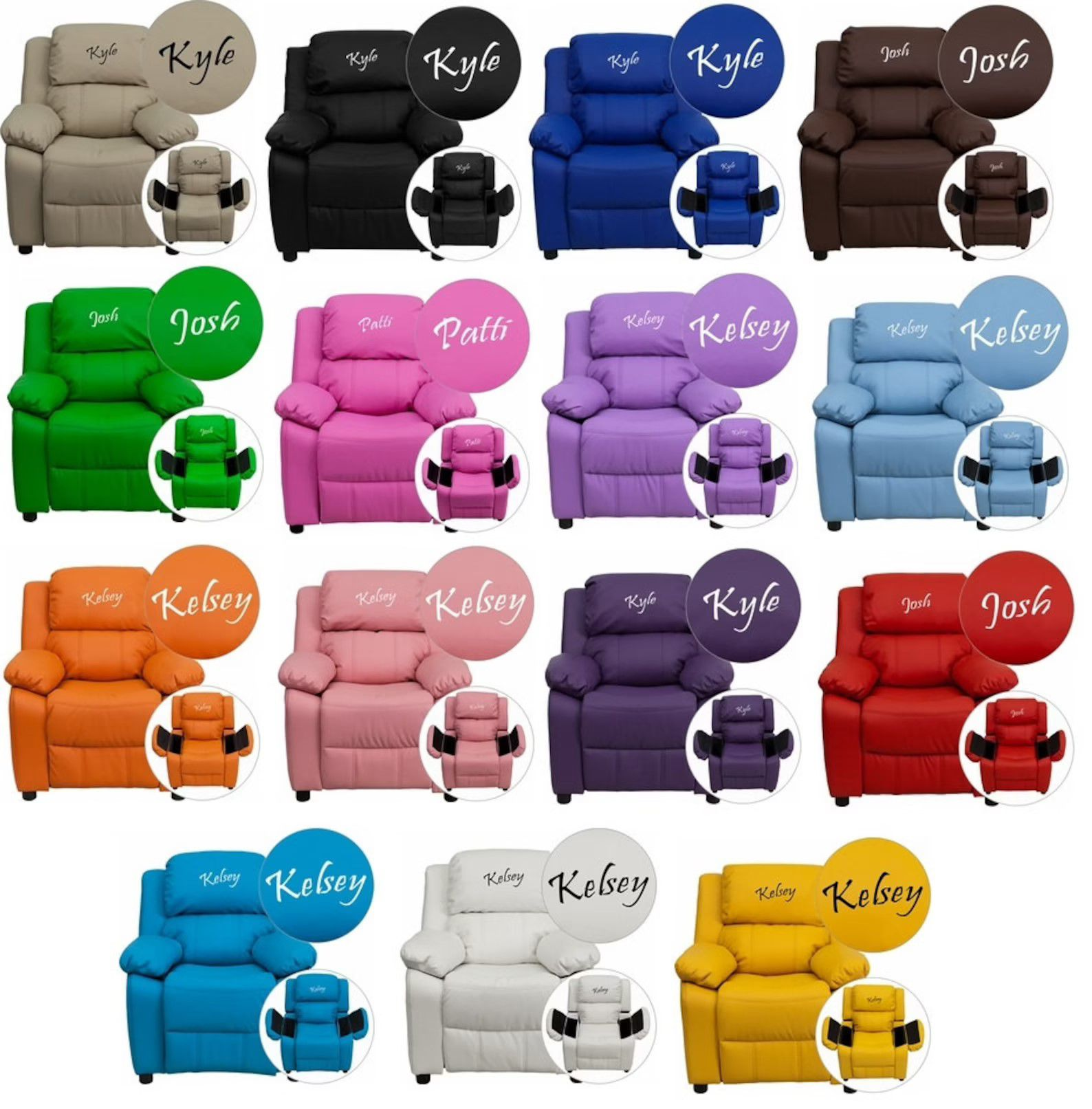 collection of different colored armchairs with names on headrests and armrests that open